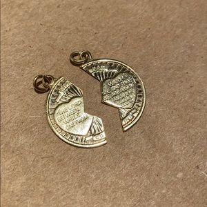 14K Gold-filled Mizpah Coin Pendant Charms